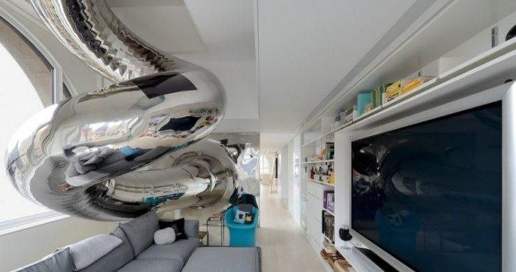 penthouse-nyc-brass-slide  NYC Penthouse featuring an extravagant Brass Slide penthouse nyc brass slide 740x390