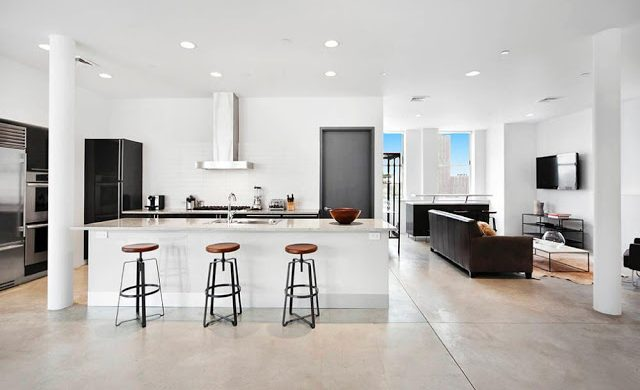 kitchen new york penthouse soho den open floor concept modern multi million dollar home new york design agenda nyc penthouse Rihanna's $14 Million Dollar NYC Penthouse kitchen new york penthouse soho den open floor concept modern multi million dollar home new york design agenda 640x390